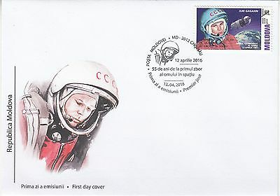 MOLDOVA 2016.55 years after the first human space flight Gagarin(Overprint) FDC