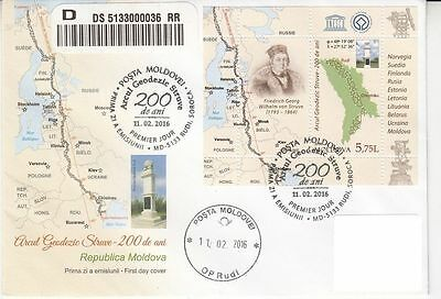 Moldova 2016.UNESCO.Struve Geodetic Arc (1816) - 200 years.FDC Sent by POST