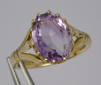 ***beautiful Vintage English 9Ct Gold Oval Cut Amethyst Ring C1940 Size N 1/2***