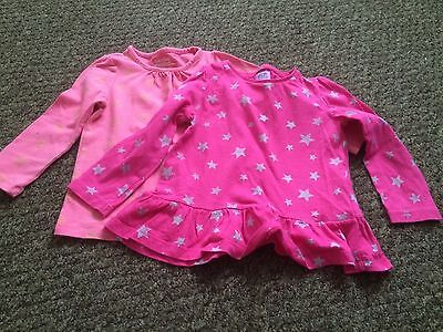 2 X Girls Long Sleeved Tops - Age 12-18 Months
