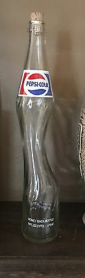 Pepsi Cola Vintage Stretched Neck Art Glass Elongated Pint Soda Bottle