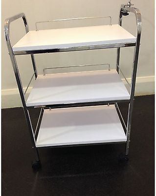 Lotus Salon Trolley, White and Chrome, with Bowl