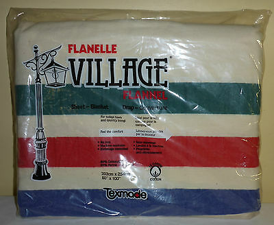 Vintage Retro Texmade Flannelette Sheet-Blanket Made In Canada New In Package