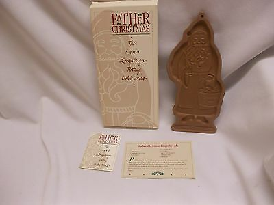 Longaberger Santa Claus Father Christmas 1990 Pottery Cookie Mold w recipe