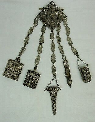 Antique Metal Chatelaine, Complete, Highly Decorative Brooch, 5 Sewing Tools