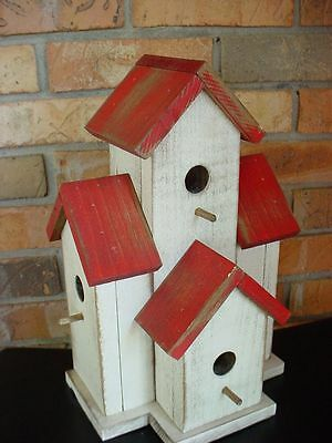 WOODEN Small Condo Birdhouse for wrens, chickadees-327-RED