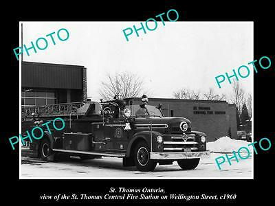 OLD LARGE HISTORIC PHOTO OF St THOMAS ONTARIO, THE FIRE DEPARTMENT STATION c1960