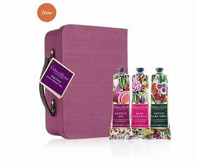 Crabtree & Evelyn HAND THERAPY TRIO - Festive Fig Rose Pineapple Earl Grey - NEW