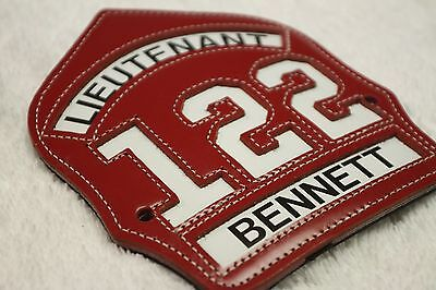 FIRE DEPARTMENT LEATHER HELMET FRONT SHIELD - LIEUTENANT TRUCK 122 - Paul Conway