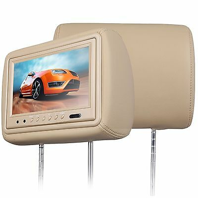 """Undefined Leather Beige Car dual LCD Monitor Pillow Headrest 9"""" R HD IR Remote"""