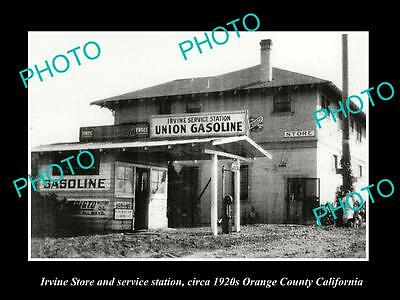 OLD LARGE HISTORIC PHOTO OF IRVINE CALIFORNIA, THE UNION SERVICE STATION c1920s