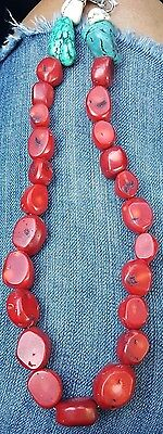 Vintage French Red Coral Necklace White Turquoise Spectacular