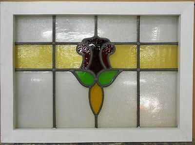 """LARGE OLD ENGLISH LEADED STAINED GLASS WINDOW Floral Stripe 28.75"""" x 21"""""""