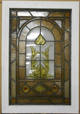 """VICTORIAN ENGLISH LEADED STAINED GLASS WINDOW Pretty Handpainted 20.75"""" x 29.75"""""""