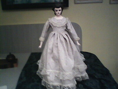 Civil War Type Reproduction Bisque Lady Doll Beutiful Make-up and Dress!