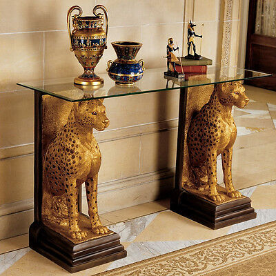 Eygptian African Decor Statues Cheetah Wildlife Animal Sculpture Glass Top Table