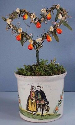 French Faience MALICORNE PBx n QUIMPER 1900 Heart Topiary Old Millinary Flowers