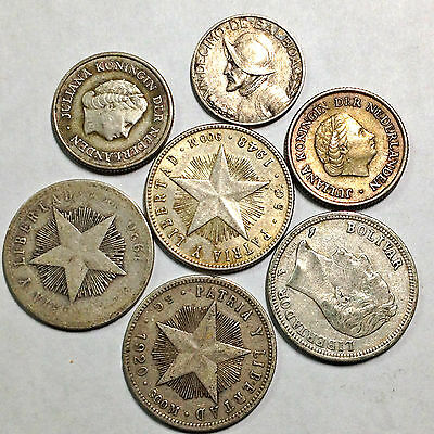 Lot Of 7 Caribbean Silver Coins 1920-1962
