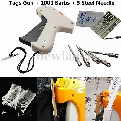 Clothes Garment Price Label Tagging Tag Gun Machine+1000 Barbs+5 Steel Needle