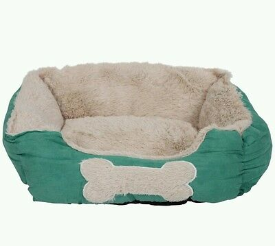 Small Pet basket bed with soft comfy fleece. washable dog cat puppies cosy bed