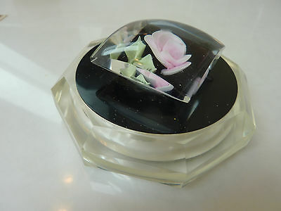 Lucite power box/jar and cover w/pink rose - vintage