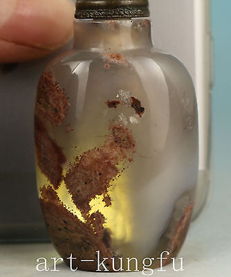 Noble Chinese Old Agate Collection Handmade Carved Statue Snuff bottle