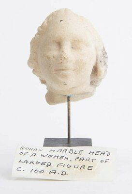 Ancient Roman Marble head of a woman c.1st century AD.