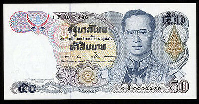 Thailand 1985-96 P90B(4) Uncirculated 50 Baht Rounded Ears #1 F 8014496