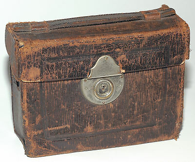 Carry-on leather case for antique stereo camera 45x107 Polyscope