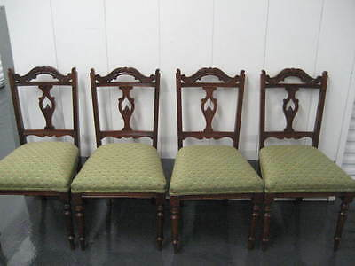 Set Of Four Vintage/ Antique English Carved Wood Dinning Chairs~Pristine Cond.