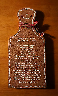 GRANDMAS GINGERBREAD MAN RECIPE SIGN Wood Christmas Holiday Home Decor NEW