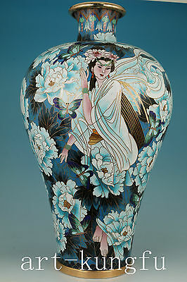 Only One Big Rare Chinese Old Cloisonne Collection Hand Painting Belle Vase Deco
