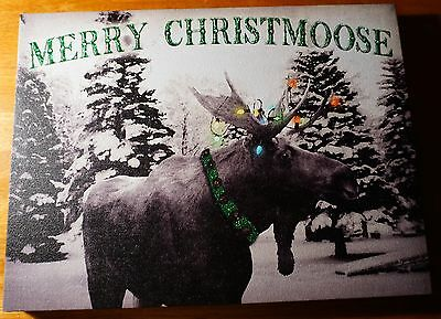 MERRY CHRISTMOOSE LIGHTED FLICKER FLAME MOOSE ANTLERS Christmas Lights Sign NEW