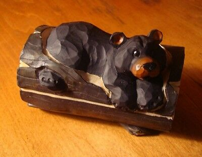 Rustic Faux Wood Carved BLACK BEAR TREE TRUNK JEWELRY TRINKET BOX Cabin Decor