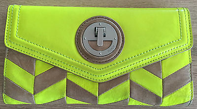 Mimco Sultan Wallet - Yellow and Latte Leather with Silver Lock - Free Postage