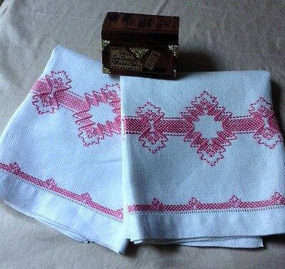 Vintage Art Deco Huck Linen Towels With Pink Needle Work Embroidery A Pair