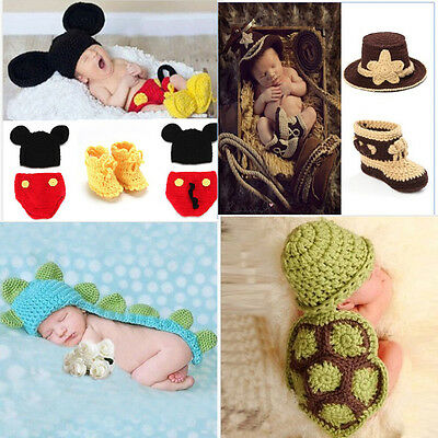 Newborn Baby Girl Boy Photography Prop Photo Crochet Knit Costume Bear +Hat Set