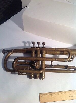 "Antique Vintage 1880's ??C.G. Conn .?Trumpet Engraved SN ""C5577""  ""professional"""