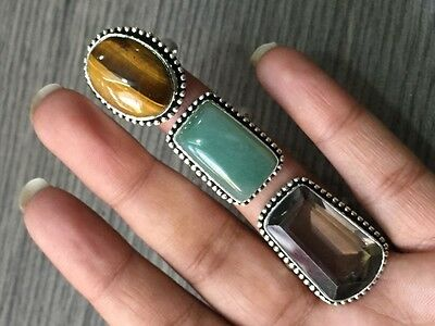 WHOLESALE LOT 3 pcs TIGERS EYE & MULTI-STONE.925 STERLING SILVER OVERLAY RING