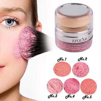 Women Natural 3D Pure Mineral Cheek Blush Blusher Powder Cosmetic With Sponge