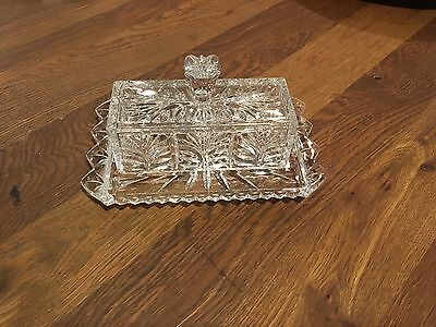 Vintage Clear Heavy Lead Crystal Glass Butter Dish - NWOT