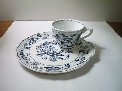 Blue Danube Japan Blue Onion Snack Set Tray Plate & Cup #2