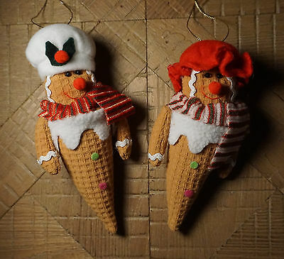 2 Gingerbread Man Chef & Woman Cook Ice Cream Cone Christmas Ornaments Decor New