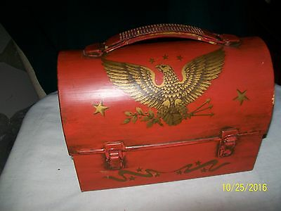 Vintage Americana Eagle Lunch Box Decoupage