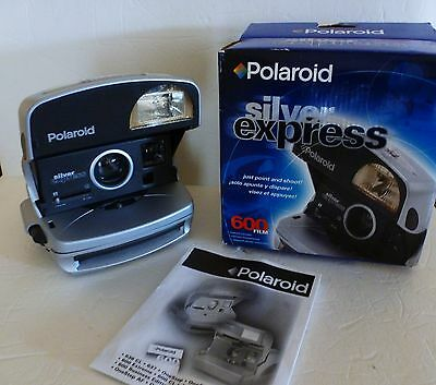 Polaroid Silver Express 600  Instant Film Camera with box