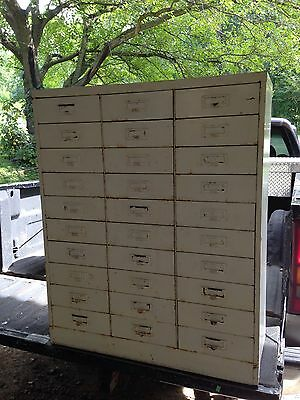 Vintage 30 Drawer Metal Card Catalog--Farmhouse Decor--Storage--Library Cabinet