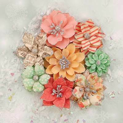 PRIMA Sweet Peppermint 8 Glitter Flowers Christmas Lights 590628 all different!