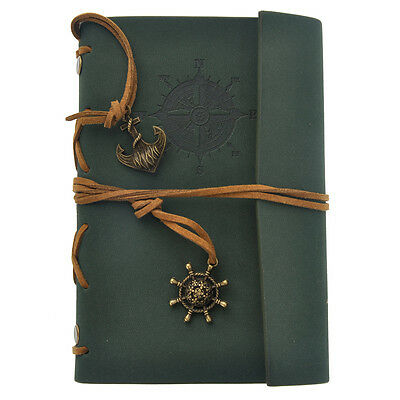 Green Vintage Faux Leather Cover Notebook Journal Diary Blank String Nautical
