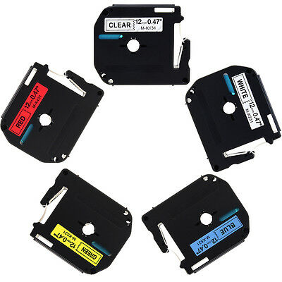 """5 Pack M-K MK 131 231 431 531 631 Label Tape For Brother P-Touch PT-90 1/2"""" 12mm"""