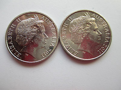 2 2011 10 cent coins.rare only 1.7 million minted.